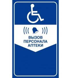 Табличка - Кнопка вызова персонала для инвалидов (синяя)