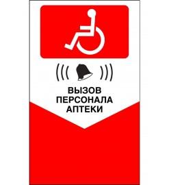 Табличка - Кнопка вызова персонала для инвалидов (красная)